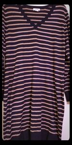 Old Navy Large Navy/Tan Sweater Dress Good Cond
